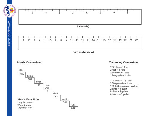 dry erase template ruler and conversions