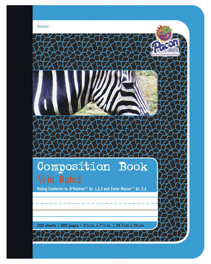 Pacon® Composition Book, Blue Tag Zebra