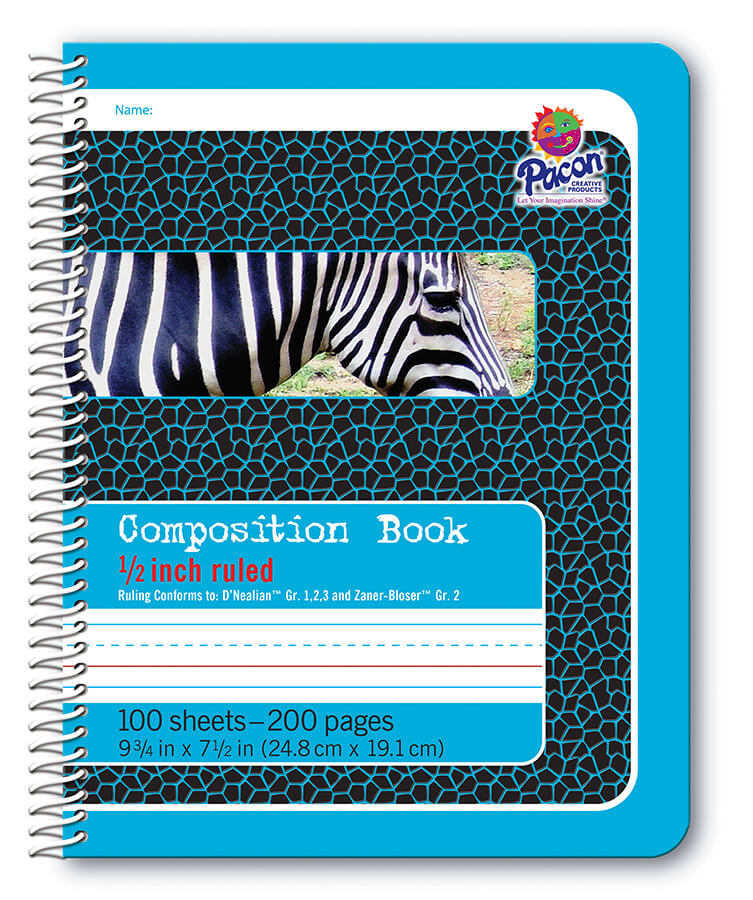 Pacon® Composition Book, Spiral Bound, Blue Tag Zebra