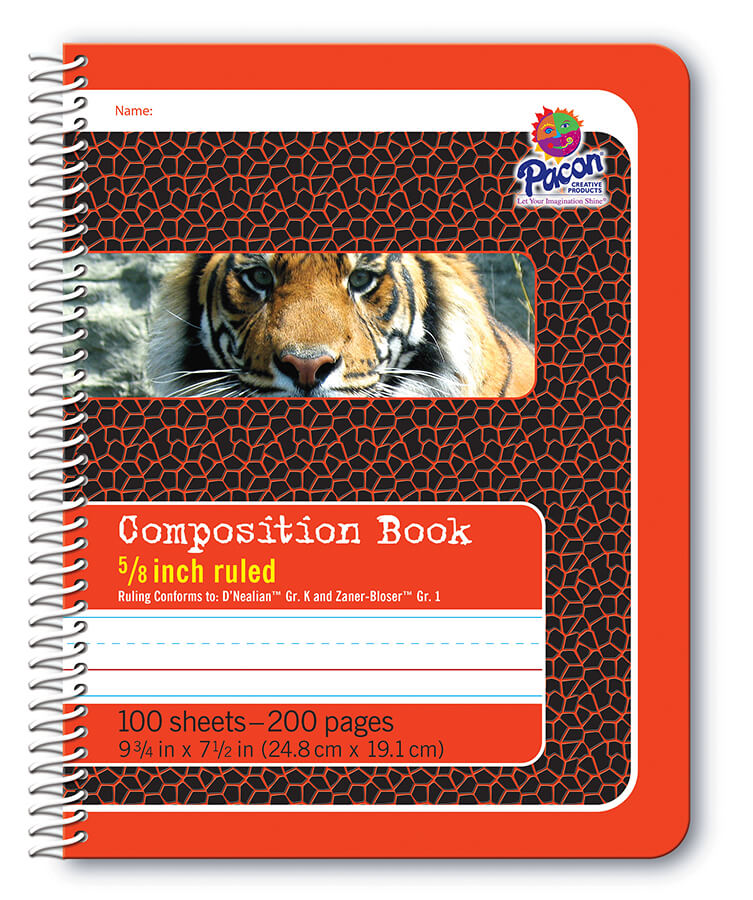 Pacon® Composition Book, Spiral Bound, Red Tiger
