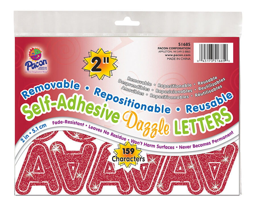 Pacon® Self-Adhesive Letters, Removable & Repositionable Adhesive