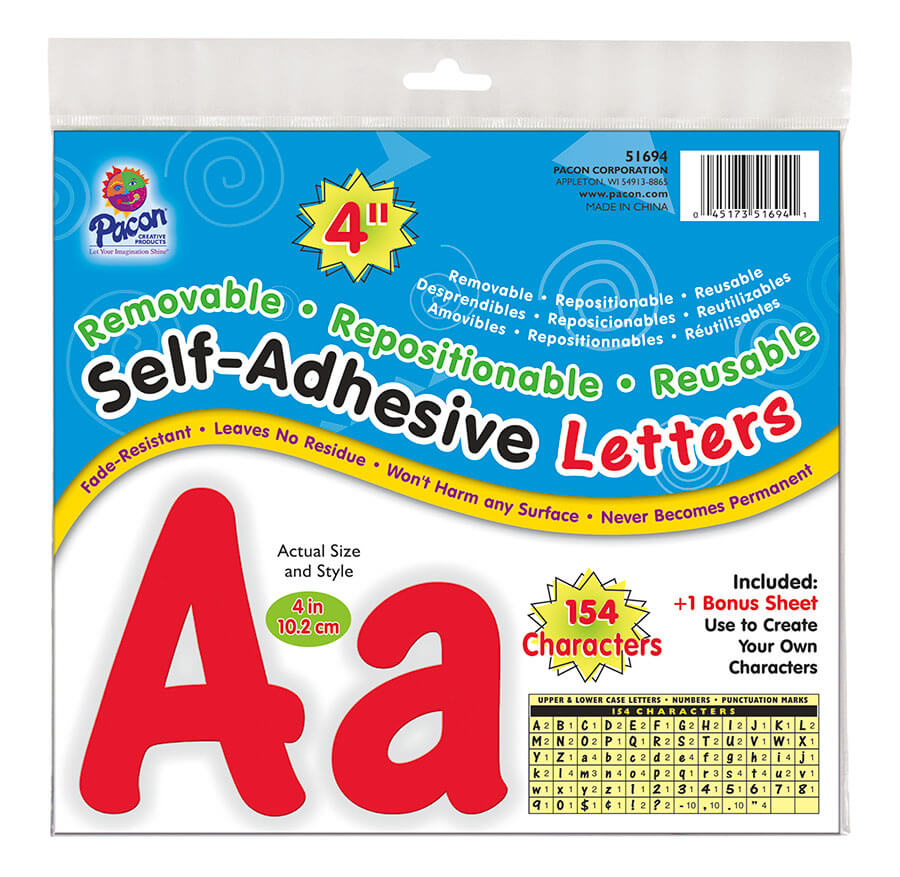 Pacon® Self-Adhesive Letters, Upper & Lower Case, Removable & Repositionable Adhesive