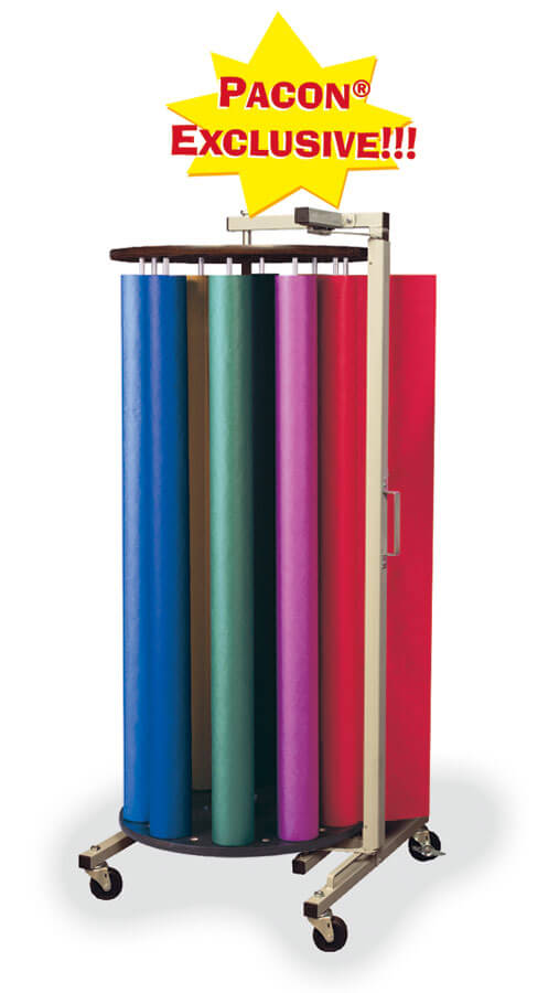 "Pacon® Rotary Rack with 10 Rolls of 48"" x 200' ArtKraft® Duo-Finish® Paper"