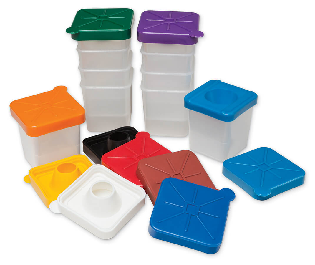 Creativity Street® No-Spill Paint Cups with Colored Lids