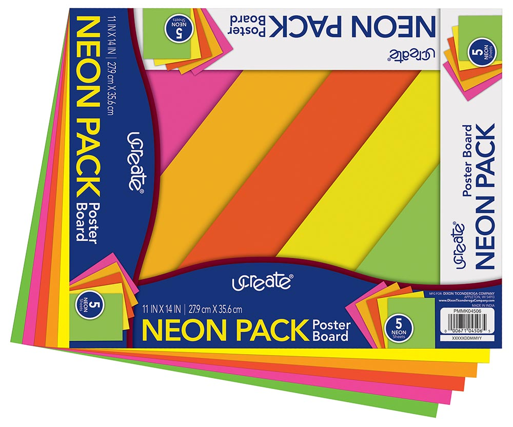 """UCreate Neon Poster Board 11/"""" x 14/"""" Neon 5 Assorted Colors 5 Sheets"""